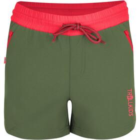 TROLLKIDS Arendal Spodnie krótkie Dziewczynki, olive/coral